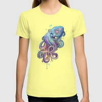 octopus  Womens Fitted Tee Lemon SMALL