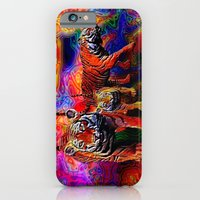 iPhone & iPod Case featuring Psychedelic Tigers by JT Digital Art