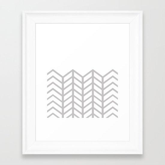 GRAY & WHITE LACE CHEVRON Framed Art Print