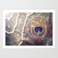 Feathers & Pearls Art Print