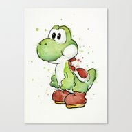 Yoshi Watercolor Mario Canvas Print