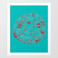 Snake Entwine - red blue folk art pattern  Art Print