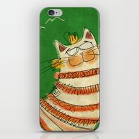 Cat - green iPhone & iPod Skin