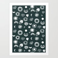 Seaflower mono Art Print