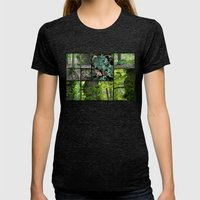 Forest Collage Womens Fitted Tee Tri-Black SMALL