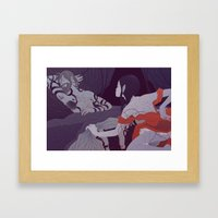Ruth Uncovers Boaz's Feet (by Gloria Pizzilli) Framed Art Print