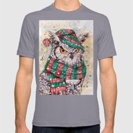 Christmas Owl Mens Fitted Tee Slate SMALL