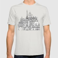 Paris Toile Gold Mens Fitted Tee Silver SMALL
