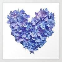Hydrangea Je t'aime Art Print