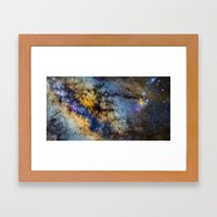 The Milky Way and constellations Scorpius, Sagittarius and the super big red star Antares. Framed Art Print