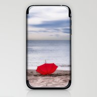 Red Umbrella At The Beac… iPhone & iPod Skin