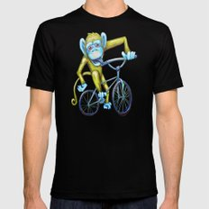 Bicycling Monkey SMALL Black Mens Fitted Tee