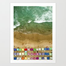 Aerial view of the beach in Mexico Art Print
