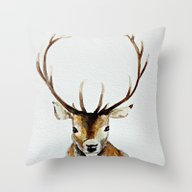 Throw Pillow featuring Buck - Watercolor by Craftberrybush