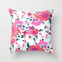 Janis Poppy Ikat Floral  Throw Pillow