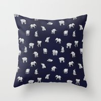 Indian Baby Elephants in Navy Throw Pillow
