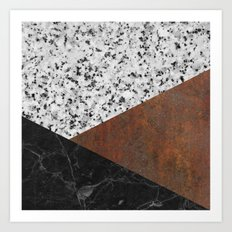 Granite, marble, rusted iron abstract Art Print