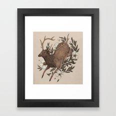 Floral Elk Framed Art Print