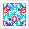 Marine Animals Geometric Pattern Art Print