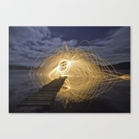 Fire Spinning on Loch Ard Canvas Print