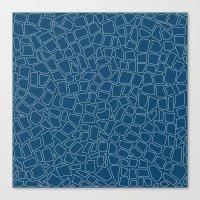 British Mosaic Blue Prin… Canvas Print