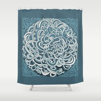 Detailed circlecorner, blue Shower Curtain