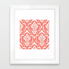 Ikat Damask Coral Framed Art Print