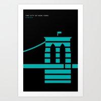 New York Skyline: Brooklyn Bridge Art Print