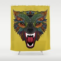 wolf fight flight ochre Shower Curtain