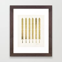 Gold Fancy Trees Framed Art Print
