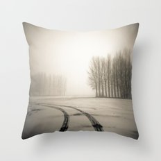 Tyre tracks in snow Throw Pillow