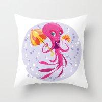 Miss Ocptopus Throw Pillow