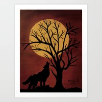 Full Moon/red Art Print