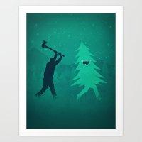 Funny Christmas Tree Hun… Art Print