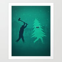 Funny Christmas Tree Hun… Art Print