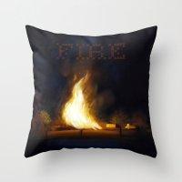 Bonfire At The Drift Throw Pillow