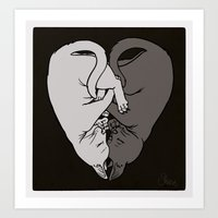 Cat Love: Ebony And Ivor… Art Print