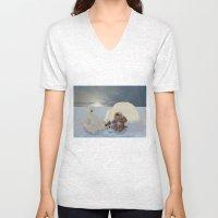 Inuit and Polar bear; Fishing. Unisex V-Neck
