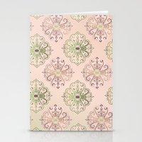 Damask Pattern Peach Stationery Cards