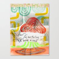As The Starling Builds A… Canvas Print