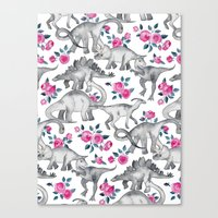 Dinosaurs and Roses - white Canvas Print