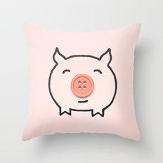 Button Pig Throw Pillow