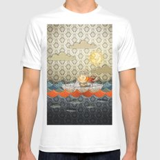 paper boat Mens Fitted Tee SMALL White