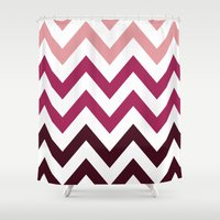 PINK FADE CHEVRON Shower Curtain