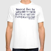 Ralph Waldo Emerson: Beautiful Mens Fitted Tee White SMALL