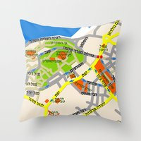 Tel Aviv Jaffa Map Desig… Throw Pillow