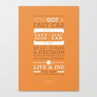 Lyrical Type - Fast Car Canvas Print