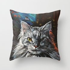 Two Faces of the Main Coon Cat Throw Pillow