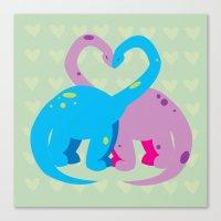 Dino Love Pillow Canvas Print