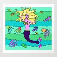 mermaid Art Prints featuring Mermaid by Linda Tomei
